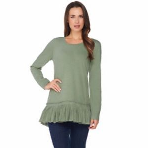 LOGO• NWOT Lori Goldstein Cotton Slub Knit Top